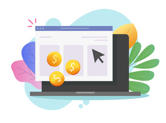 avantages publicité PPC Pay per click or cost per click website money earning online on laptop computer vector icon flat cartoon, pc web or internet coins cash income via advertising clicking, ppc or cpc symbol modern image