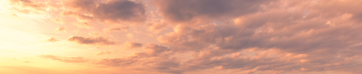 Fototapeten Lachs Cloudy sky at sunset or sunrise with bright sun. Abstract background for design.