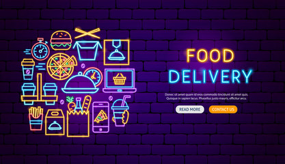 Food Delivery Neon Banner Design