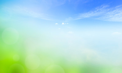 World Environment Day concept: Blue sky and beautiful cloud with meadow