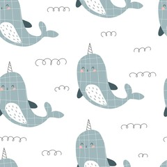 seamless pattern with cartoon narwhal, decor elements. colorful vector for kids, flat style. Baby design for fabric, textile, print, wrapper.