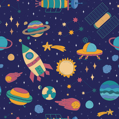 Colorful cartoon drawn space background
