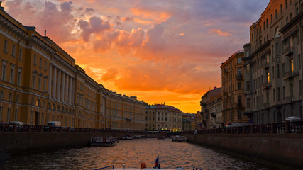 Sunset at Saint-Petersburg, Saint-Petersburg at dusk over the river, Awesome sunset in Saint Petersburg