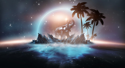 Foto auf AluDibond Blaue Nacht Futuristic night landscape with abstract landscape and island, moonlight, shine. Dark natural scene with reflection of light in the water, neon blue light. Dark neon circle background.