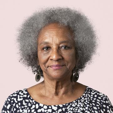 Happy black senior woman mockup