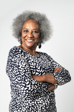 Proud black senior woman with afro hair