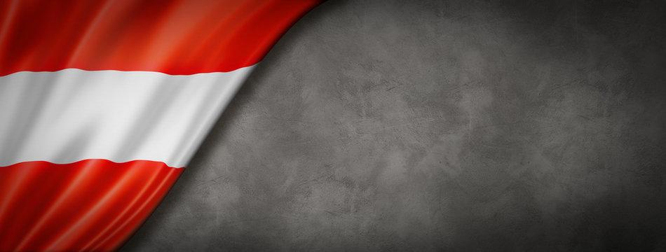 Austrian flag on concrete wall banner