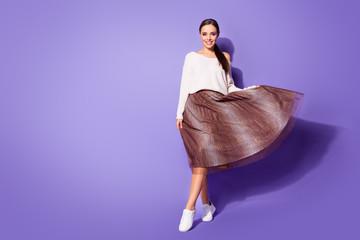 Full length photo of nice elegant lady girl enjoy her free time rest relax hold skirt wear white...