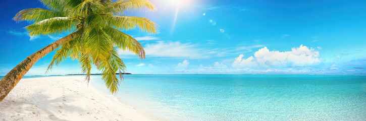 Papiers peints Bleu Beautiful tropical beach with white sand, turquoise ocean on background blue sky with clouds on sunny summer day. Palm tree leaned over water. Perfect landscape for relaxing vacation, island Maldives.