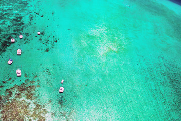 Foto auf AluDibond Reef grun Aerial picture of the east coast of Mauritius Island. Beautiful lagoon of Mauritius Island shot from above. Boat sailing in turquoise lagoon