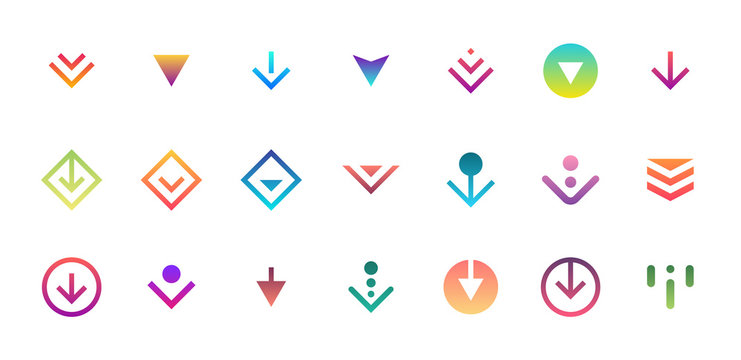 Swipe top down download icon scroll colored pictogram set isolated for blogger ui ux design. Vector colorful arrow bottom for application and social network web site. Gradient button illustration