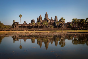 Refleictions of Angkor Wat in pool, Cambodia