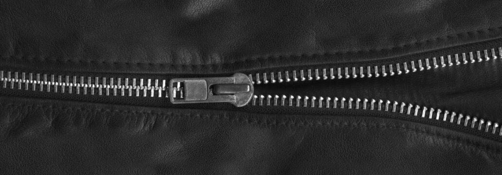 Zipper on black leather jacket