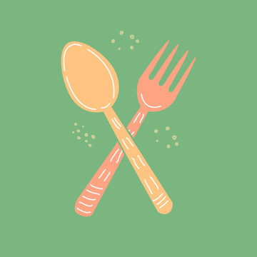 Vector flat cartoon illustration of a fork and spoon. Kitchen tools, utensils and kitchen accessories on a dark green background.