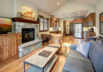 Living room interior with stone fireplace and vaulted ceiling. Cozy new luxury place.