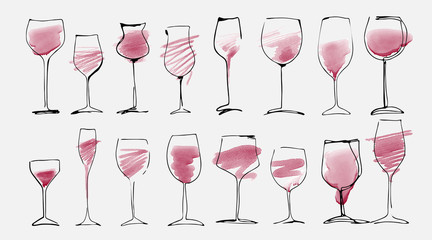 Watercolor and hand drawn sketch of wine glasses set with red wine. Wine glass collection isolated on white, art design.