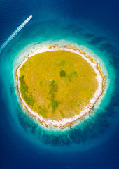 Wall Mural - Stunning aerial photo of round island in the mediterranean sea. Location place Pula, Croatia, Europe.
