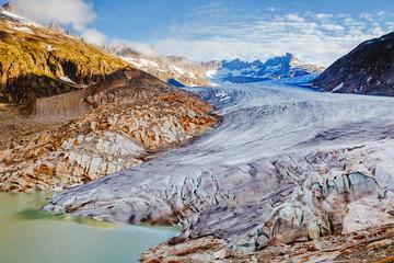 壁紙(ウォールミューラル) - Great sunny day in the Alpine valley. Location place of Bernese Alps, Rhone glacier, Swiss alps.