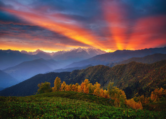 Wall Mural - Fantastic brilliant sunrise with rays breaking through the clouds. Location place of  Upper Svaneti, Georgia country.