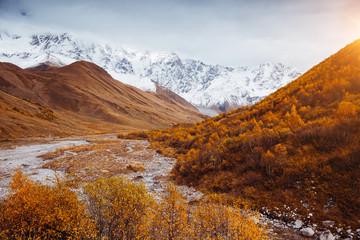 壁紙(ウォールミューラル) - Fantastic snow range of Caucasus Mountains and peak Shkhara. Location place of Zemo Svaneti, Georgia country.