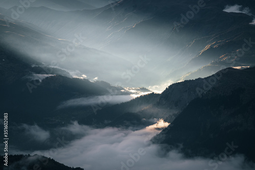 Wall mural Amazing morning view of the high Caucasus mountains.