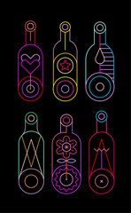 Neon colors on a black background Decorative Bottles vector illustration. Vertical design of six different wine bottle silhouettes.