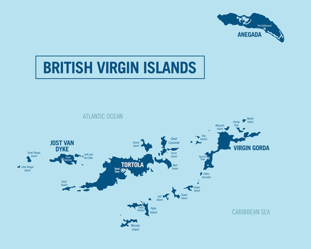 British Virgin Islands political map. Detailed vector illustration with isolated islands and cities.