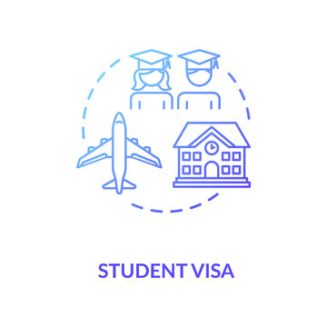Student visa concept icon. Foreign country legal migration. University students exchange program idea thin line illustration. Vector isolated outline RGB color drawing