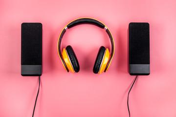 listen to music concept. audio speakers and headphones top view