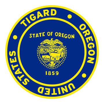 Round Tigard Oregon United States Flag Clipart 2