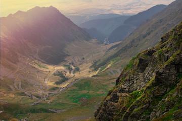 Foto auf Gartenposter Gebirge Transfagarasan valley view from the top of Carpathian mountains in Romania ( 2543 m) The best driving track in the world. Transfagarasan, Romania