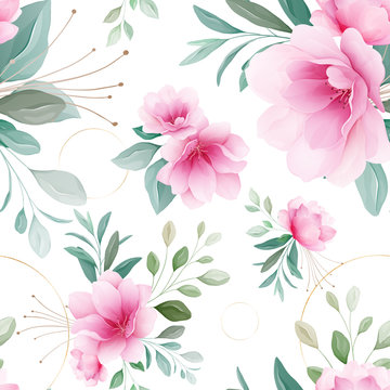 Seamless pattern of pink sakura flowers, gold circle, branches, bud arrangements vector for fashion, print, textile, fabric, and card background vector