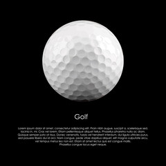 Golf ball on a black background with sample text. Vector Format.