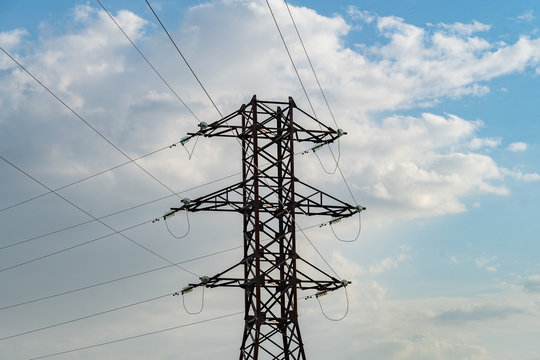 high voltage line support with wires and insulators