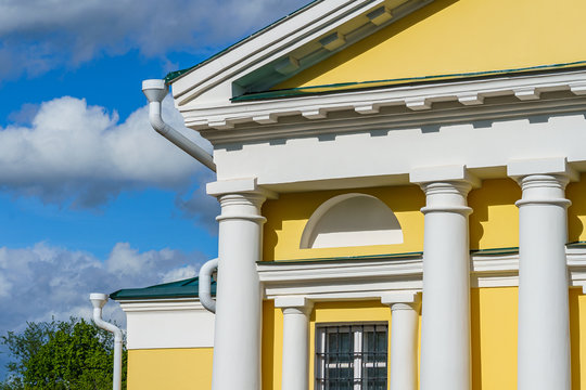 fragment of the facade of a historic building, a merchant's mansion in a Russian city