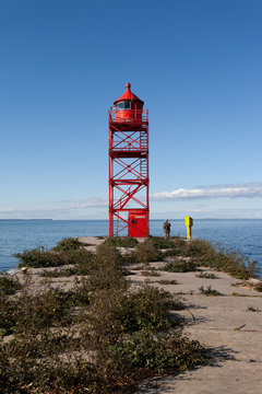 Red lighthouse on the Szczecin Lagoon.