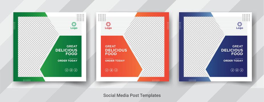 Food, social media square post templates, web banner templates. Promotional banner for social media post vector