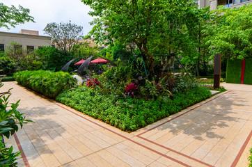 Fototapeta garden landscape in residential area