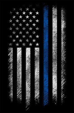 grunge usa police flag with thin blue line vector design