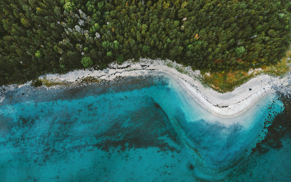 Aerial view ocean sandy beach and coniferous forest drone landscape in Norway above trees and blue sea water scandinavian nature wilderness top down scenery