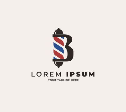 initial letter B logo design with pole barber shop logo inspiration