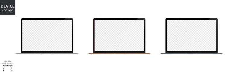 New Laptop Air with Blank Screen Isolated on White Background. Silver, Gold and Space Gray Aluminum Body. HQ Template Mockup