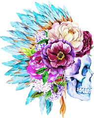 Foto op Textielframe Aquarel schedel War bonnet, watercolor, skull, boho, Indian, feathers, flowers. Indian Style Applique skull patch