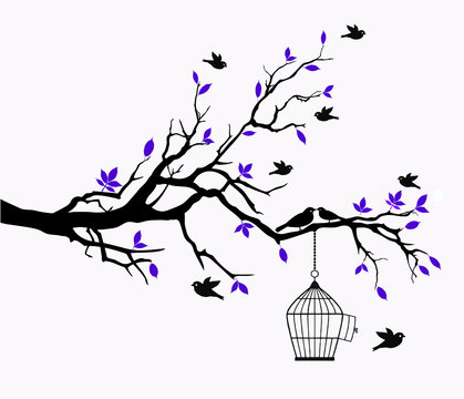 Vector illustration of beautiful Purple tree and flying birds cage