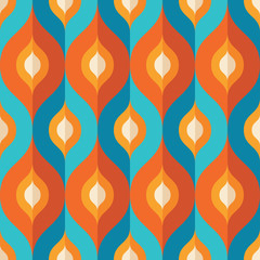 Background Mid-century modern vector art. Abstract geometric seamless pattern. Decorative ornament in retro vintage design style. Atomic stylized backdrop.