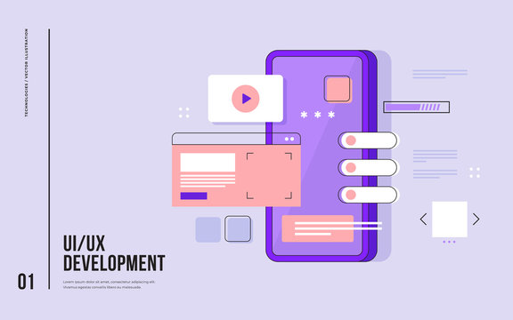 Mobile UI/UX development design concept. Smartphone with interface elements. Digital industry. Innovation and technologies. Mobile app. Vector flat illustration for web page, banner, presentation.