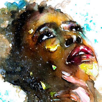 Abstract watercolor portrait of a woman of color afro american black beautiful girl with splatter texture