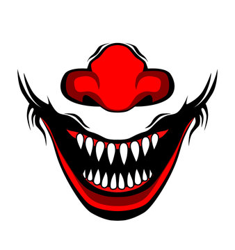 Evil clown / Creepy clown or horror clown, clown horror smiley face. Clown mouth, Joker Smile for hallowen. illustration