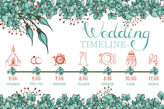 Color vector wedding timeline with hand  drawn elements