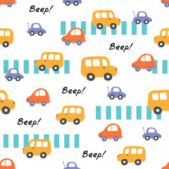 Cute seamless baby vector pattern with car and bus